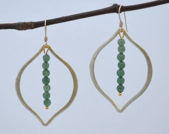 Gold Marquise Green Jade Beaded Drop Dangle Earrings // Gold filled Sterling Silver Hooks // Gemstone Earrings // Bridesmaids Gift