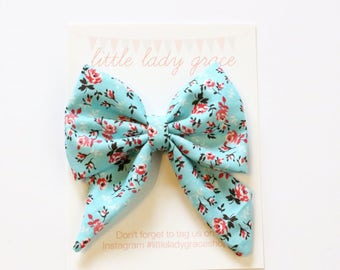 Blue and Pink Rose Sailor Bow- Oversized ponytail bow, pigtail bows, headband, hair clip, baby, girls, kids, adult