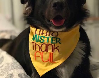 Little Mister Thankful Thanksgiving Dog Bandana