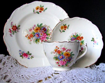 Coalport Fragrance Luncheon Trio - Coalport Fragrance Teacup and Saucer and Dessert Plate, 9504 Raised Edged Scalloped English Bone China