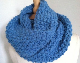 Knitted Soft Bulky Blue Seamless Infinity Scarf Handmade Accessories Ready To Ship