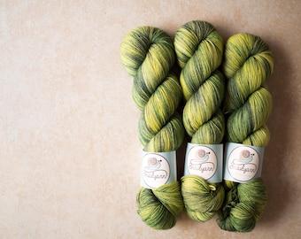 Sock Yarn - Merino+Nylon sock yarn - hand dyed - 100 grams - Spring 2017 sock yarn club - New leaves