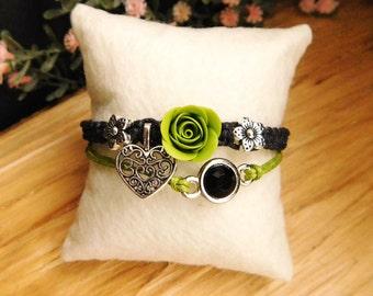 Green bracelet Boho Birthday gift\for\her Best friend gift Stone bracelet Charm St. Patrick's day Gift ideas Goth jewelry Metal bracelet