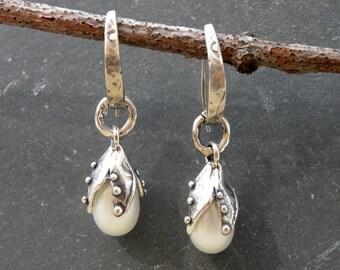 Sterling Silver White Pearl Earrings Artisan Handcrafted Bridal Wedding Sea Flower