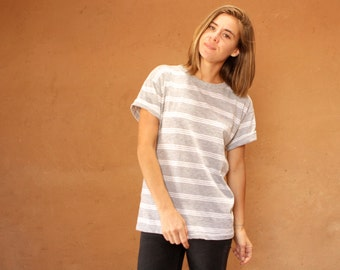 vintage heather grey 90s striped OXFORD soft SPRING t shirt top