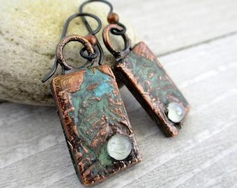 "Verdigris Copper & Moonstone Rectangle Earrings, Electroformed Copper, Niobium Earwires, 1 3/4"" Drop, Ready To Ship"