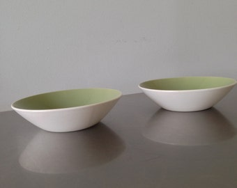 White and Sage Green Bowls - Pet Dishes - Dog Dishes