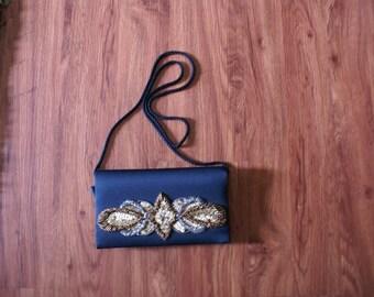 Black clutch - black evening bag - beaded purse - vintage purse