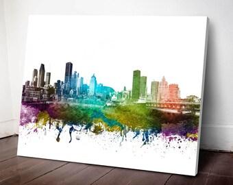 Montreal Skyline Canvas Print, Montreal Art, Montreal Wall decor, Montreal Cityscape, Home Decor, Gift Idea, CAQCMO01C