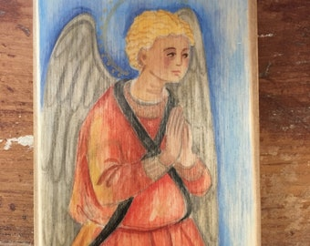 Angel Hand Painted Wood Block READY TO SHIP