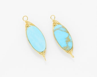Oval Turquoise Pendant . Turquoise Connector . Turquoise Bead . 16K Polished Gold Plated over Brass - 2pcs / NB0038-PG