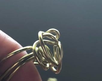 Abstract Bun Brass Wrap Ring