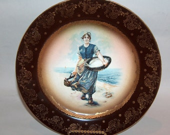 p7676: Antique Royal Vienna Signed Portrait Cabinet Plate Beehive Mark at Vintageway Furniture