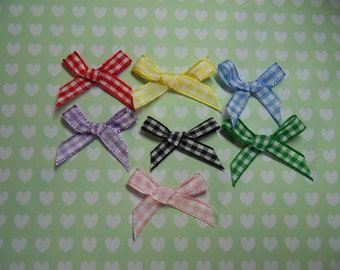 10 Gingham Ribbon Bows - Choice of Colours