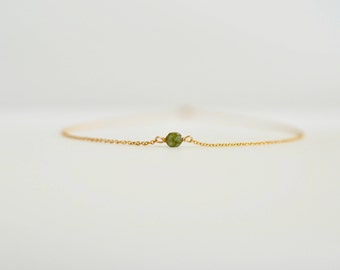 Green Opal Necklace, Ultra Dainty Necklace with Tiny Gemstone, Semiprecious Gemstone Necklace, Tiny Solitaire Gemstone Necklace