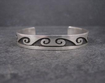 Vintage Hopi Sterling Wave Cuff Bracelet 6 Inches