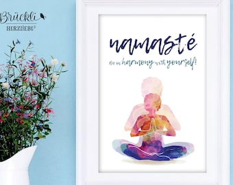 """A4 print / mural / poster """"Namaste"""" for all Yoga lovers"""