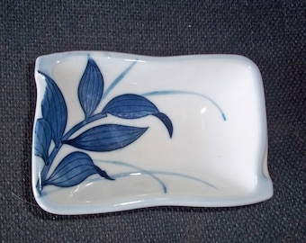 Vintage Hand-Painted Japanese Blue & White Pin Dish