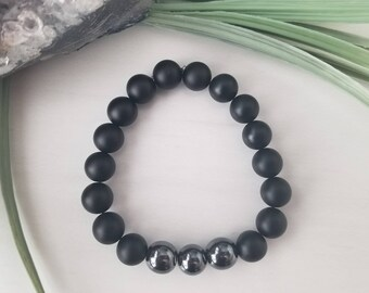 Men's Matte Onyx and Hematite Healing Gemstone Bracelet