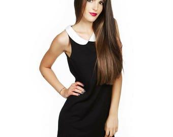 Little black dress/ White collar black dress/ Black top/ Black tunic/ Extravaganat dress/ Party dress