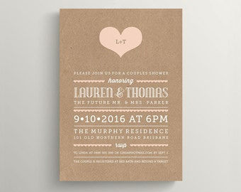 Printable Couples Shower Invitation \ Wedding Shower \ Kraft Invitation \ Peach and White  (BR133)