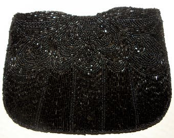 Vintage Black Beaded Silk Evening Bag  Small Clutch with Glass Beads / 1980s does 1940s