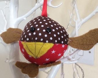 Robin Christmas tree decoration, Fabric, robin tree bauble, Christmas tree ornament