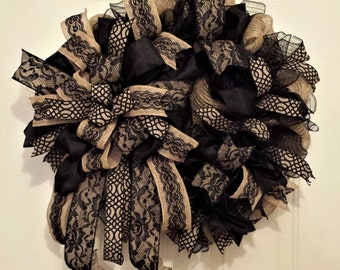 Black Lace Burlap Wreath beautiful on door or wall or lovely as a bereavement or mourning wreath for home or funeral