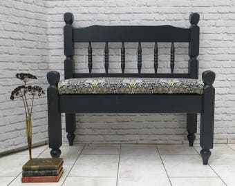 SOLDVintage Bench Window Hallway Seat Settle Farrow & Ball  Archive William Morris 'Snakeshead' UpholsteredSOLD