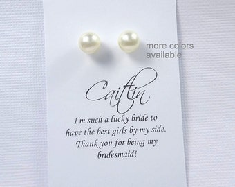 Bridesmaid Stud Earrings, Stud Pearl Earrings, Stud Earrings, Bridesmaid Gift, Bridal Shower Gift, Bridal Party Gift, Wedding Earrings