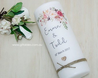 Personalised Christening / Baptism Candle - Wildflower Decorated