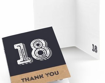 18th Birthday Thank You Cards - Aged to Perfection Thank You Cards - 18th Milestone Birthday Party Supplies - Set of 8 Folding Note Cards