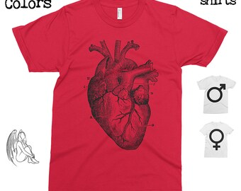 Big Heart T-shirt, Tee, American Apparel, Heart, Anatomic, Anatomy, Vintage, Retro, Funny, Cute Gift