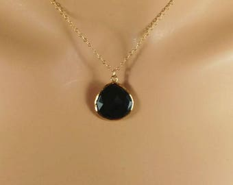Black Onyx Necklace, Drop Necklace, Onyx Pendant, Double Sided, Teardrop Beads, Faceted Stone, Gold, Silver, 20mm