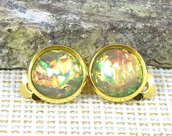 Sage Fire Opal Clip On Earrings - Fire Opal - Clip On Earrings - Earrings - Non Pierced Ears - Sage Clip Ons - Opal - Jewelry - Sage Earring