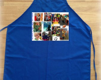 Photo Apron - One 8 in x 10.5 in Photo Collage with up to 8 photos - Great Custom Photo Gift - 100% Cotton Apron  PRIORITY SHIPPING