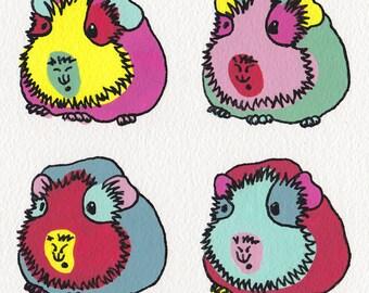 Guinea Pig greeting card - Design No 30