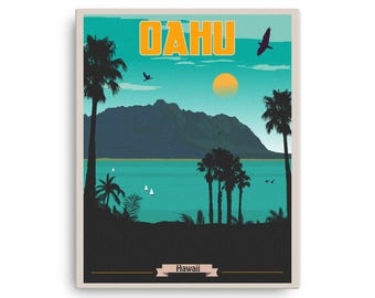 Oahu Hawaii | Vintage Travel Poster on Canvas (16x20in)