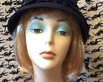 Vintage 1960s Navy Raffia Straw Bucket Hat with Bow Cloche Hat Mod Retro