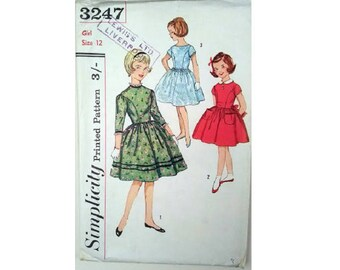 Vintage 50's Simplicity 3247 Girls Fitted Bodice Full Skirt Party Holiday Flower Girl Bridesmaid Dress Sewing Pattern Age 12 Chest 30""