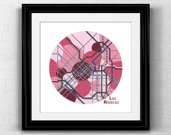 Los Angeles City Map Print- Los Angeles Poster Neighborhood Map Transit Map Road Map Art
