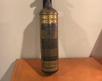 Vintage 1910 Pyrene brass fire extinguisher, still full