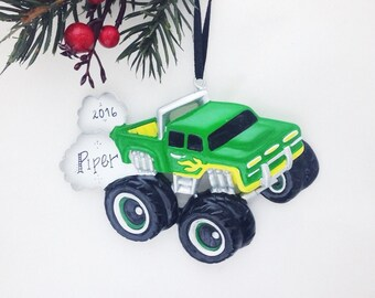 Green and Yellow Monster Truck Personalized Christmas Ornament / Child Christmas Ornament / Little Boy Ornament / Toddler