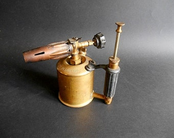 Antique Blow Torch Sievert Model 223 on Gasoline, Made in Sweden - Vintage Brass Petrol Industrial Lamp - Blow Tool Industrial Design 1940s.