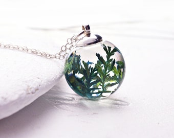 Real fern necklace Terrarium necklace Woodland Nature lover jewelry gift for her