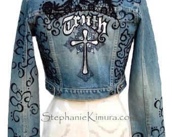 """Denim Jacket Wearable Art """"Truth"""""""