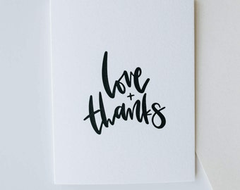 love + thanks-- letterpress thank you card