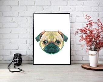 Pug Triangle Wall Print