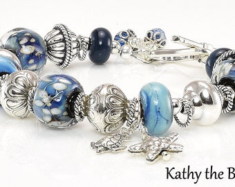 Lampwork Bracelet - Lampwork Blue Karen Hill Tribe Silver Bead Bracelet - KTBL
