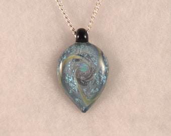 Dichroic glass spiral and Opal Heart pendant